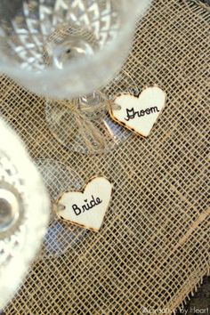 Drinking Glass Charms Bride & Groom Set  Wine by creativebyheart, $8.00  Heck, get some for everybody that way nobody forgets which glass is theirs!