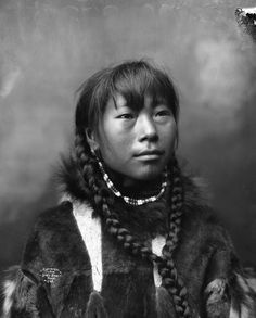 North America: Inuit girl from Cape Prince of Wales, Alaska. 1904. Photo by Lomen Brothers.