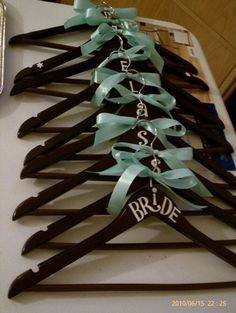 DIY bridal party hangers for the girls yes.Brides has to be Mrs. Wedding Wishes, Friend Wedding, Our Wedding, Dream Wedding, Wedding Blue, Wedding Stuff, Wedding 2015, Wedding Colors, Wedding Decor