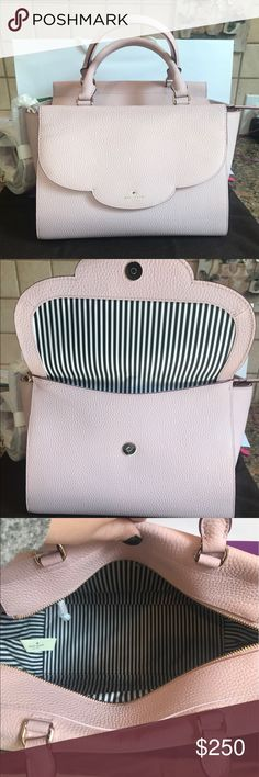 Kate Spade Leewood Place Makayla ♈️$200! GORGEOUS LIGHT PINK! Has detachable cross body strap! Protective feet on bottom. Gorgeous striped liner. Functional front pocket! 1 zipper and 2 small inside pockets! Dust bag included. kate spade Bags Crossbody Bags