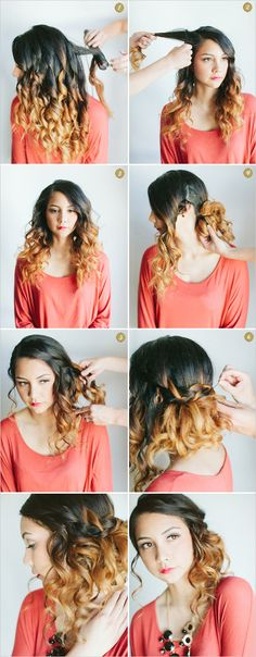 How to do Curly Side Waterfall Braid | tutorial in picture