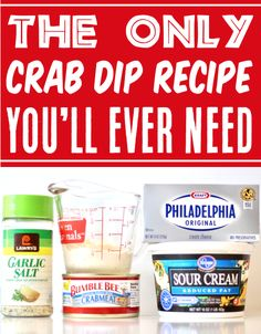Crab Dip Recipe with Cream Cheese! Easy Hot Appetizers are the perfect start to any party, and this savory 5-ingredient dip tops the charts! It's so simple to make and outrageously delicious! Go grab the recipe and give it a try! Bread Appetizers, Appetizer Ideas, Christmas Appetizers, Appetizers For Party, Christmas Recipes, Appetizer Recipes, Crab Dip Recipes, Cream Cheese Recipes, Seafood Recipes