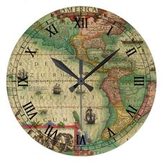 Antique Old World Map of the Americas, 1606 Clock
