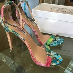 WEEKEND SALE!!!Steve Madden Stecy Floral Heels Sexy and chic tropical floral heels by Steve Madden. Considered new with box! Only worn one time. Perfect for those hot summer dates!  Steve Madden Shoes Heels