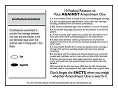 Vote AGAINST Amendment One in North Carolina!!