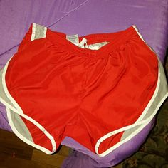 Shorts Red, gray, & white running shorts. Lightly worn, size small. Soffe Shorts