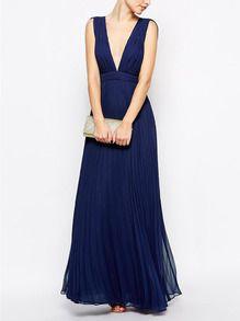 Blue Sleeveless V Neck Pleated Maxi Dress