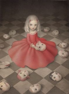 Nicoletta Ceccoli 'A Girl Hides Secrets' (acrylic and colored pencil on paper, 11.5 x 15.3 inches)