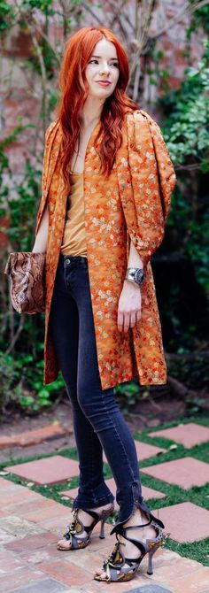Tangerine Floral Coat Outfit Idea by Sea Of Shoes