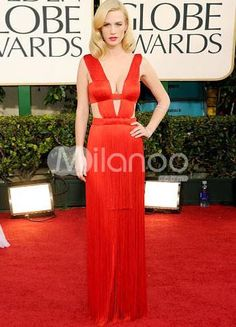 Sexy Red Chiffon A-line Evening Golden Globe Dress. Dare to bare in this gorgeous strappy evening gown. It features a double strap design that creates a plunging V neckline and most of the bodice itself as well. A bandeau-style insert crosses the back and provides coverage in .. . See More Golden Globe Dresses at http://www.ourgreatshop.com/Golden-Globe-Dresses-C903.aspx