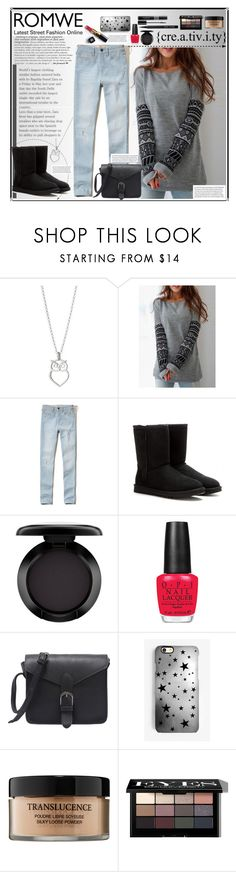 """ROMWE 12"" by annna-136 ❤ liked on Polyvore featuring Hollister Co., UGG, Zara, MAC Cosmetics, OPI, Dansk, Rianna Phillips, Chanel, Lancôme and Bobbi Brown Cosmetics"