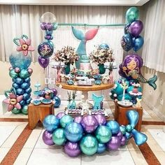 QIFU Metal Balloons Event Party Supplies Round Metallic Ballons Metal Baloon Wedding Birthday Party Decorations – Home & Garden Mermaid Theme Birthday, Little Mermaid Birthday, Little Mermaid Parties, Mermaid Balloons, Happy Birthday Kids, Mermaid Baby Showers, Under The Sea Party, Baby Party, Shower Party