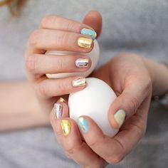 DIY Gold-Speckled Easter Egg Nails