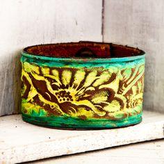 Tooled Leather Jewelry Accessories Cuff Bracelet by rainwheel, $45.00