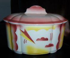 Art Deco Deckeldose Spritzdekor Steingut Colditz Dec. 5057 1930er J. Keksdose | eBay