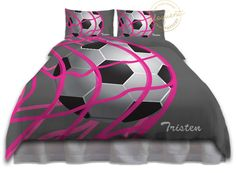 Girls Soccer Bedding - Comforter Grey & Pink - Soccer Bedding - Kids Sports Personalized, King, Queen/Full, Twin #268 by EloquentInnovations on Etsy