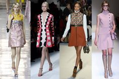 swinging '60s: '60s are back in major way; maybe bunch of designers got together & decided to binge-watch latest season of Mad Men b/c there are lot of mini skirts, knee-high boots, & accessories that remind one of yesteryear (Miu Miu, Valentino, Louis Vuitton, & Gucci)