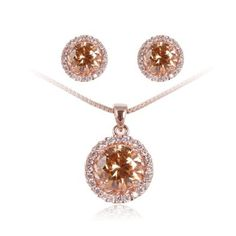 Fashion Plaza 18K Gold Plated Simulated Diamond Basket Set Champagne Cubic Zircon CZ Swarovski Elements Necklace and Earring Jewelry Set S93: ---See more at http://www.jewelery-shop.commissionblast.com