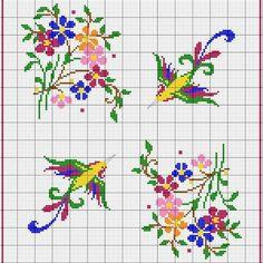 Flowers and birds - free cross stitch patterns Cross Stitch Boards, Mini Cross Stitch, Cross Stitch Animals, Cross Stitch Flowers, Cross Stitching, Cross Stitch Embroidery, Embroidery Patterns, Cross Stitch Designs, Cross Stitch Patterns