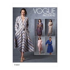 Vogue Patterns 1653 MISSES' DRESS Sundress Pattern, Dress Patterns, Vogue Patterns, Miss Dress, New Dress, Rose Fuchsia, Neck Pattern, Size 14 Dresses, Dame