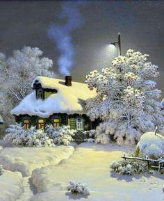 Blue smoke curls into a crisp winter night sky from a snow-covered cottage's chimney Winter Szenen, I Love Winter, Winter Magic, Winter Christmas, Winter Night, Snow Night, Magical Christmas, Winter Months, Winter Season