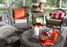 porch Beach House Furniture, Outdoor Furniture Sets, Outdoor Decor, Porch Ideas, Front Porch, Fall Decor, Harvest, Wicker, Autumn