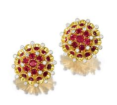 PAIR OF RUBY AND DIAMOND EARCLIPS, ALETTO BROTHERS