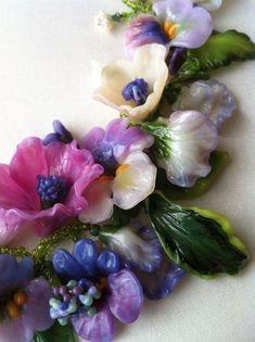 Art glass flowers...  Barbara Caraway
