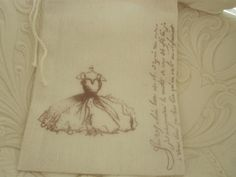 Hand Stamped Muslin Gift Bags  French Script by frenchcountry1908, $1.50