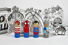 BOYville - DIY box of Superheros - little wooden painted dolls and free printable scenery