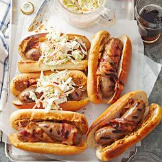 Best 4th of July recipes- baconista brats! Take the guesswork out of creating a delicious spread of 4th of July food. Our July 4th entrees (hot dogs! ribs!), drinks (punch! sangria!), side dishes (fruit and pasta salads!), and desserts (mmm, pie) make organizing a pat