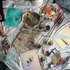 - ̗̀ make art, be art ̖́- Painting & Drawing, Watercolor Paintings, Art Amour, Art Hoe Aesthetic, Aesthetic Painting, Arte Sketchbook, Artist Life, Make Art, Diy Art
