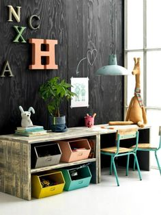 A cute and colourful idea for a kids desk that doubles as toy storage.