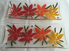 Fused glass flower serving dishes
