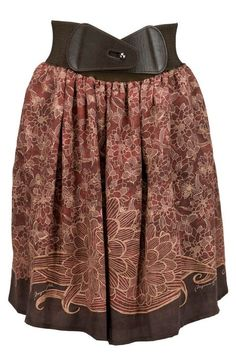 skirt in crepe,vintage pattern and belt on waist
