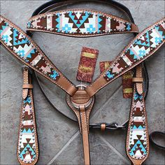 HILASON Western American Leather Horse Headstall Breast Collar Aztec Hand Paint for sale online Western Horse Tack, Horse Bridle, Horse Gear, Horse Halters, Western Saddles, Breyer Horses, Rodeo Cowgirl, Western Riding, Friesian Horse