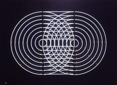Doug Aitken's don't think twice II. Neon on a dark blue wooden frame.