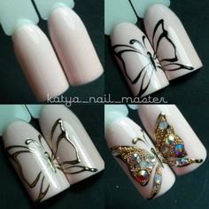 Nails University. Ногти и Маникюр пошагово. | VK Butterfly Nail Designs, Butterfly Nail Art, Nail Designs Spring, Cool Nail Designs, Cat Nail Art, Animal Nail Art, Cat Nails, Sparkle Nails, Best Acrylic Nails