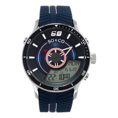 So&co New York Men's Monticello Quartz Analog and Digital Blue Sport Strap Watch