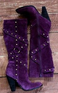 CARLOS SANTANA PURPLE SUEDE GENUINE LEATHER STUD KNEE BOOTS HARNESS HEEL ~ SO ME, what a colour, BUT that stupid heel again!