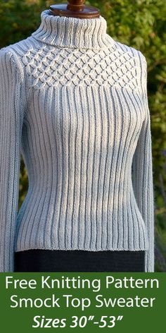 """Free Sweater Knitting Pattern Smock Top Sweater Jumper - Pullover sweater features a form-flattering ribbed body topped by feminine smocking. Sizes Finished Bust 30 (34, 38, 41.5, 45.5, 49.5, 53)"""". DK weight yarn. Designed by Audrey Knight for Knotions."""