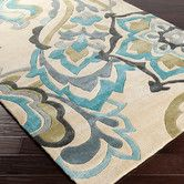 Found it at Joss & Main - Cosmopolitan Sand & Teal Floral Hand-Tufted Area Rug