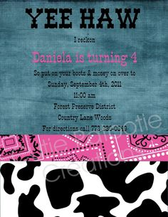 Country Birthday Party Ideas | ... Denim and Diamonds Country Western Birthday Party Printable Invitation