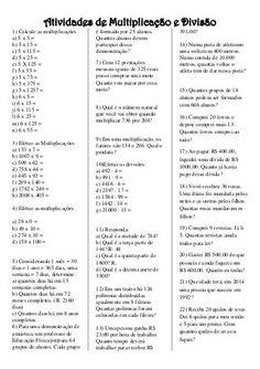 Divisão e multiplicação