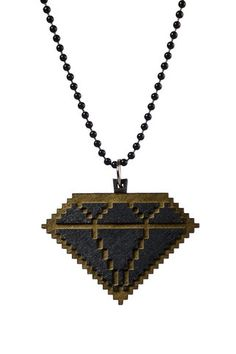 Wooden 8 Bit Diamond Necklace