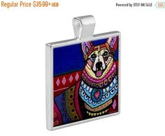 55% Off Today- Corgi Dog Folk Art Jewelry - Pendant Metal Gift Art Heather Galler Gift- Dog Lovers Abstract Modern Vegan Gifts