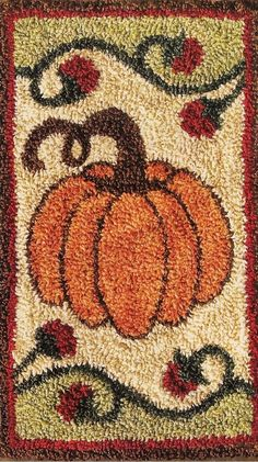 """Punchneedle Pattern By Jeri Kelly """"Autumn"""" X Pumpkin) Rug Hooking Designs, Rug Hooking Patterns, Punch Needle Kits, Punch Needle Patterns, Latch Hook Rugs, Hand Hooked Rugs, Craft Punches, Penny Rugs, Felt Crafts"""