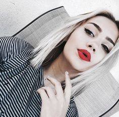 Cute Pale Grunge girl with Red lips makeup - http://ninjacosmico.com/35-grunge-make-up-ideas/