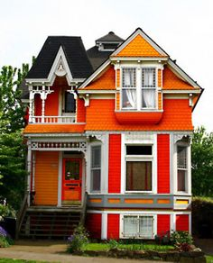 vintage victorian with ginger bread and bright colors