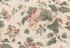 Waverly Fabric Glencoe Vintage Beige Pink Green Rose Cotton Drapery Upholstery   #Waverly